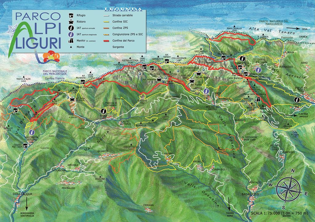 Cartina 3d Alpi.Cartine Parco Alpi Liguri