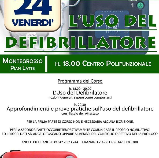 """24 gennaio – Corso """"L'uso del defibrillatore"""" a Montegrosso P.L."""