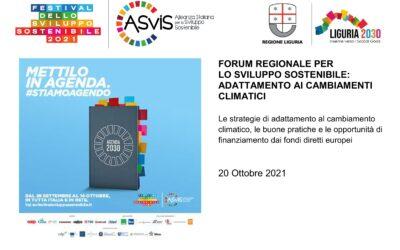 20 ottobre – Forum regionale Sviluppo Sostenibile: adattamento ai cambiamenti climatici
